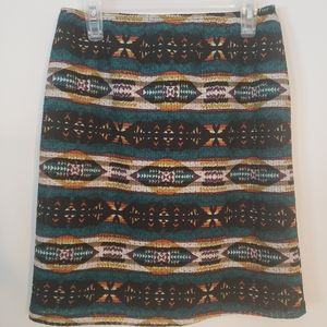 Catch My I Tribal Lined Midi Skirt Jrs SzM LikeNew